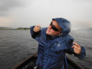 Pippa being cool in the rain on Lough Arrow