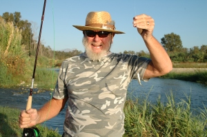 Norman´s first fly-caught fish. Things can only get better!