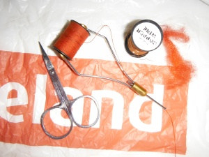 All you need - some dubbing, a strip of plastic and some copper wire