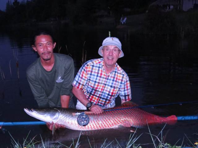 Harry with his beautiful Arapaima, estimated at 25 kilos. These are among the largest freshwater fish in the world although, due to overfishing in their native range in South America they rarely attain their maximum size. They have been widely introduced in tropical countries and this one was caught in Thailand.