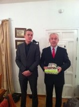 Here is Leo and me getting ready  to go out to the sixth form Christmas bash.