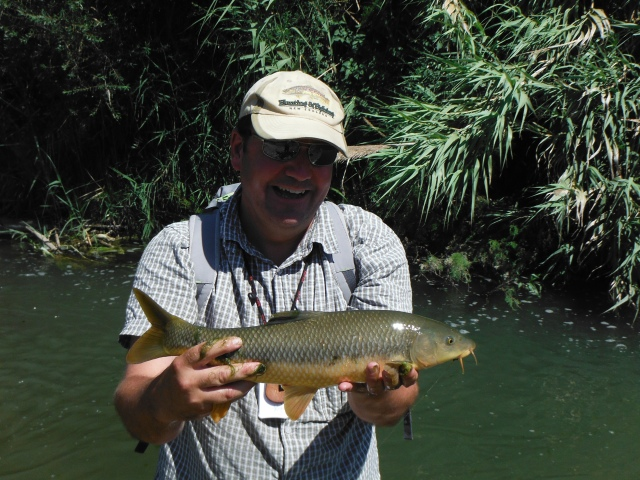 Simon with his lovely barbel - the best fish of the day