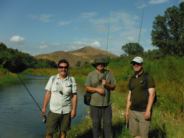 The fishing party. From left to right: Simon, Stuart and Jonathan.